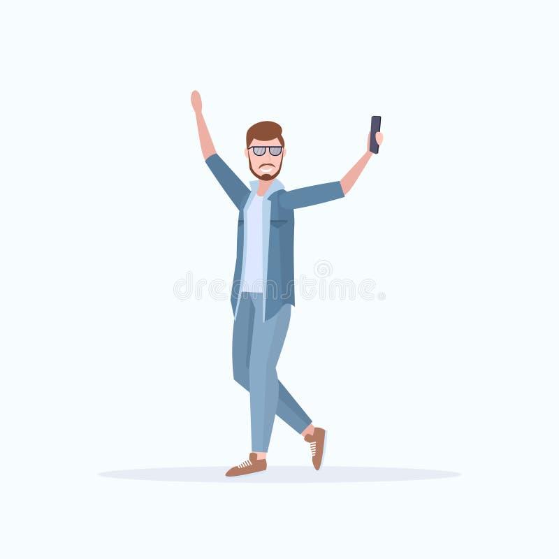 Man taking selfie photo on smartphone camera casual male cartoon character posing white background flat full length. Vector illustration stock illustration