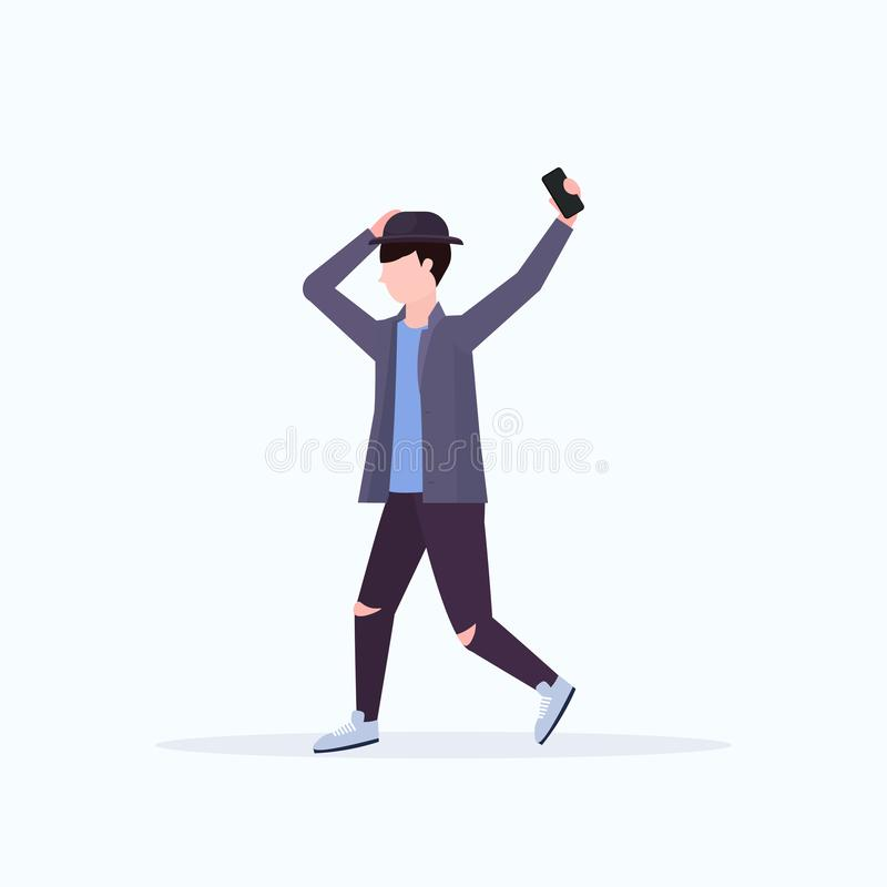 Man taking selfie photo on smartphone camera casual male cartoon character posing white background flat full length. Vector illustration vector illustration