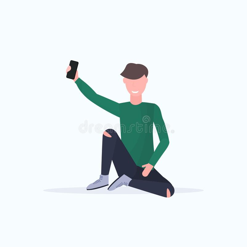 Man taking selfie photo on smartphone camera casual male cartoon character sitting posing white background flat full. Length vector illustration vector illustration
