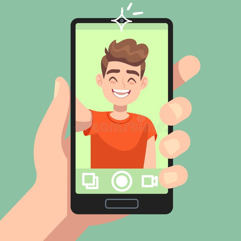 Man taking selfie photo on smartphone. Smiling male character making selfie photo with smartphone camera in hand flat. Vector happy portrait and cute royalty free illustration