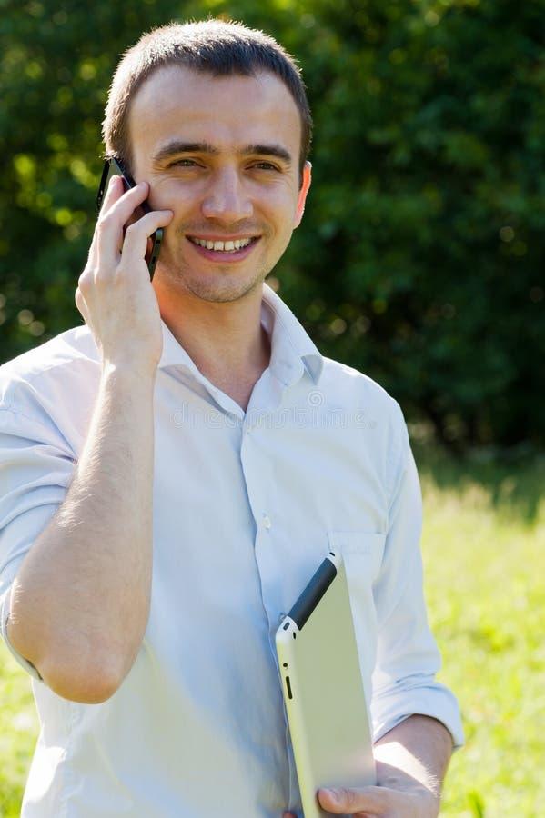 Download Man talk by phone stock image. Image of digital, screen - 32191069