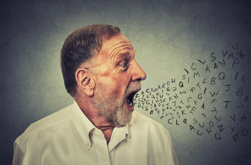 Man talking with alphabet letters coming out of his mouth stock image