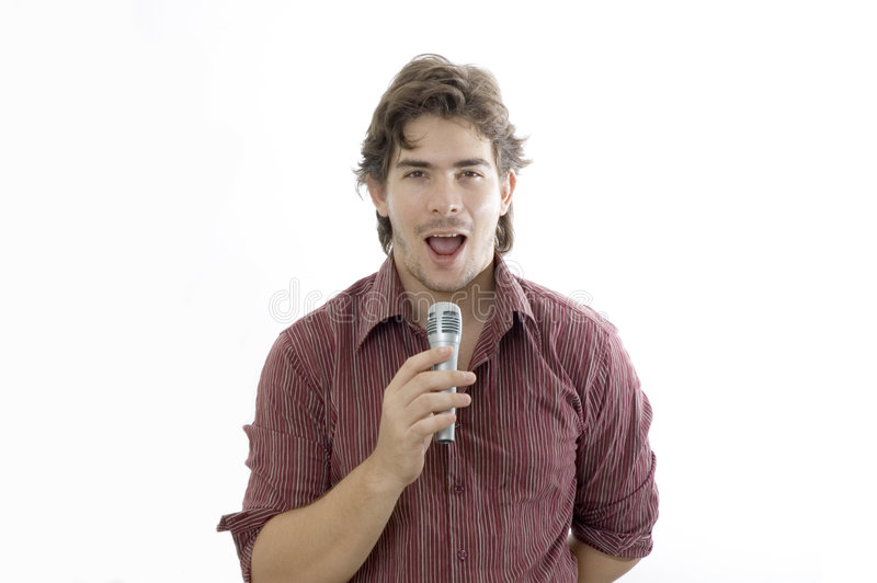 Man talking by microphone stock image