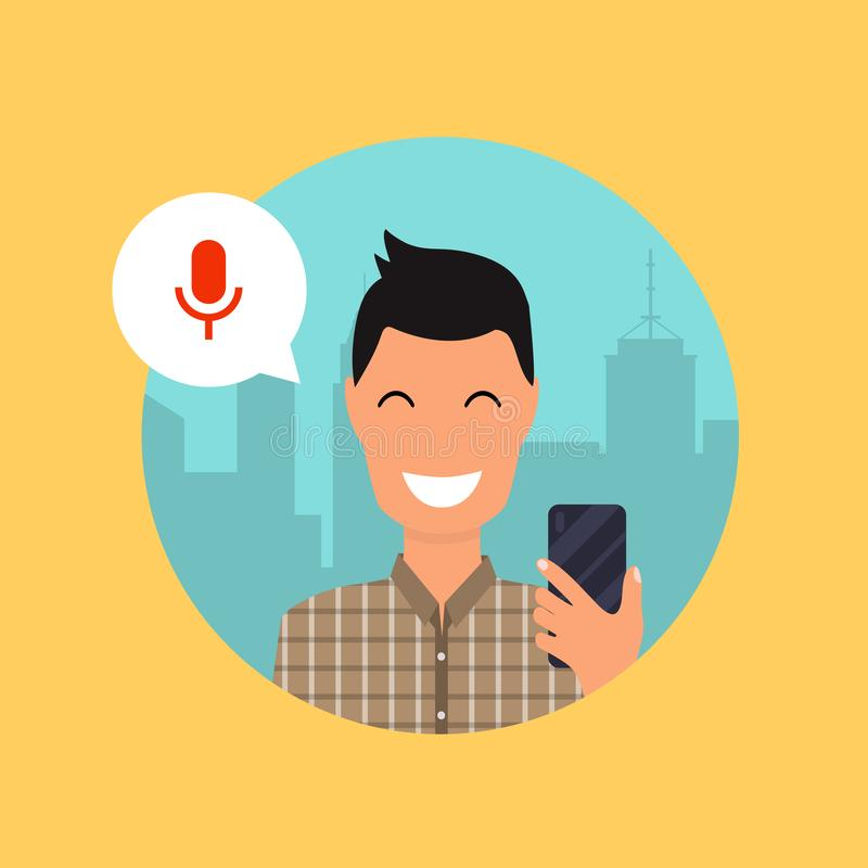 Man talking on the phone with the digital voice assistant. Flat. Design modern vector illustration concept stock illustration