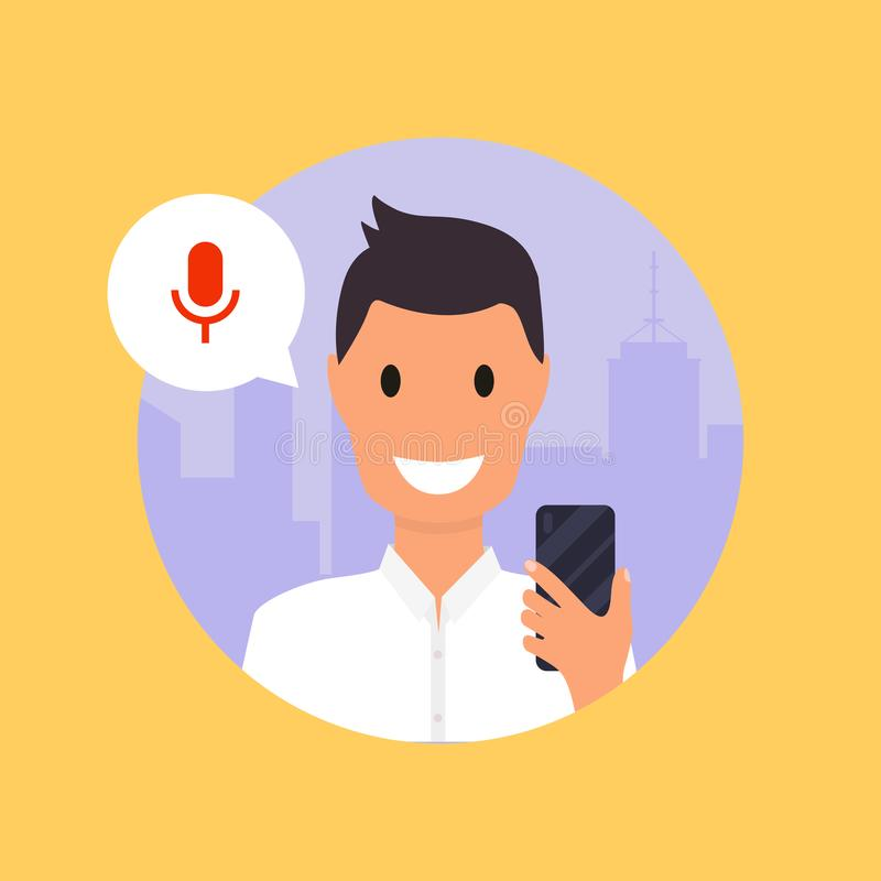 Man talking on the phone with the digital voice assistant. Flat design modern vector illustration concept.  vector illustration