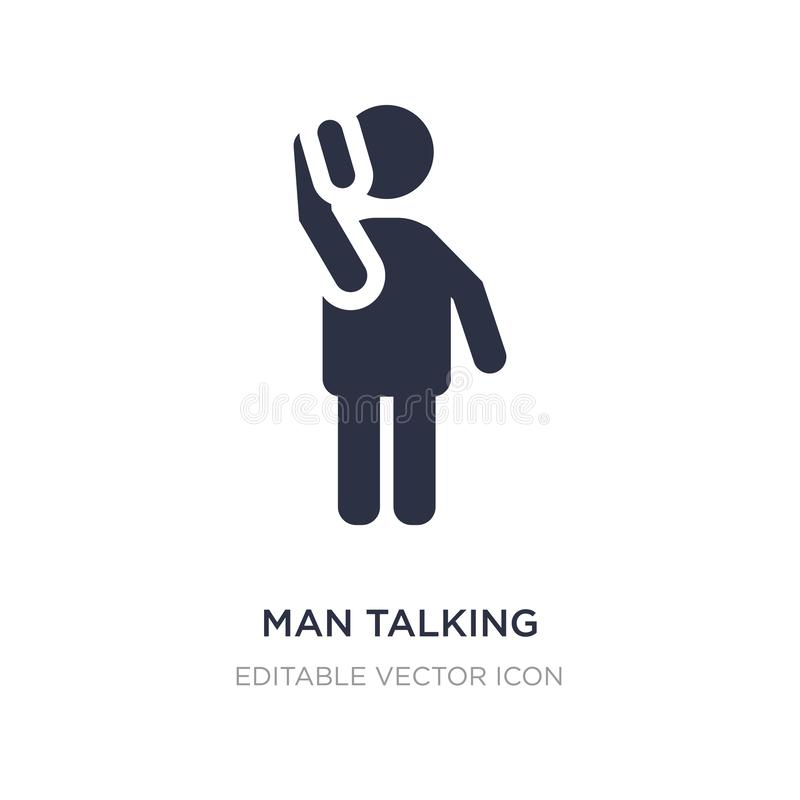 Man talking with phone icon on white background. Simple element illustration from People concept. Man talking with phone icon symbol design stock illustration