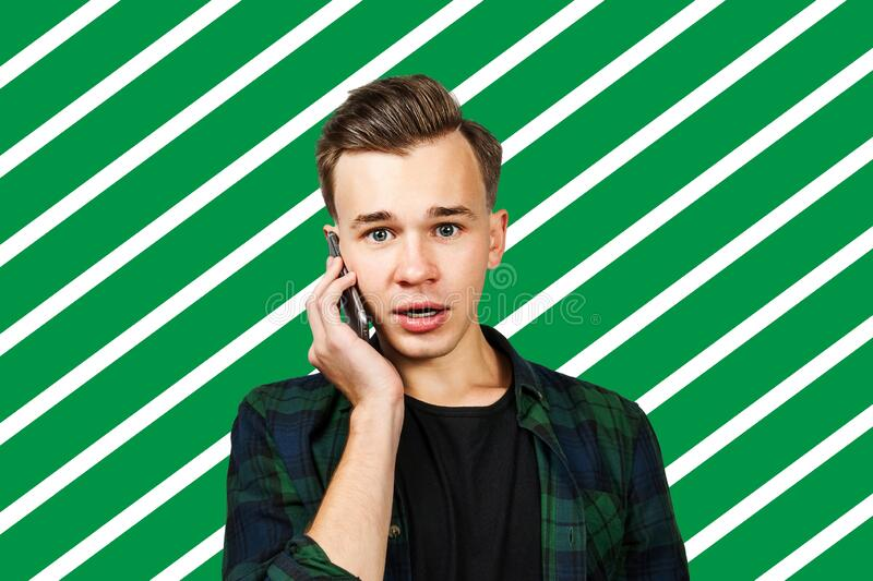 Man talking on the phone service manager communication.  royalty free stock photo