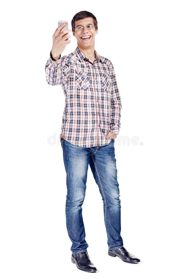 Man talking on video chat full body stock photo