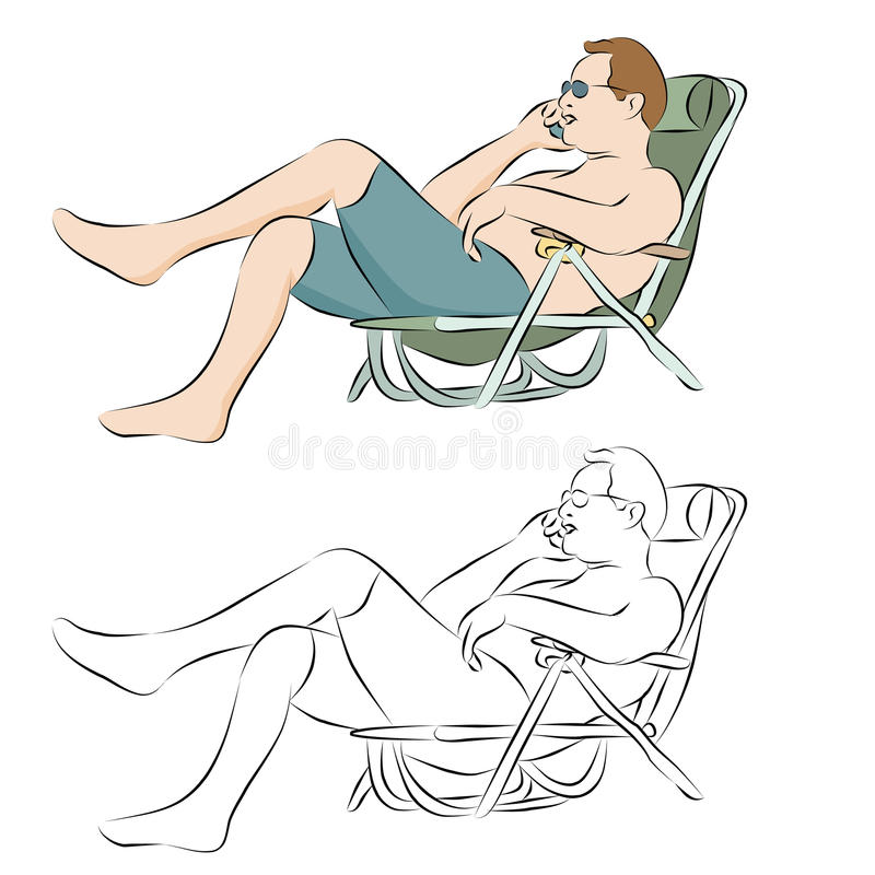 Download Man Tanning Outdoors Using Phone Stock Vector - Illustration of calligraphy, phone: 19526660