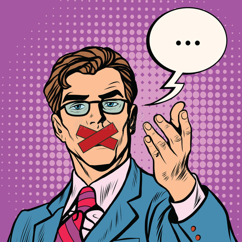 Man with taped mouth royalty free illustration