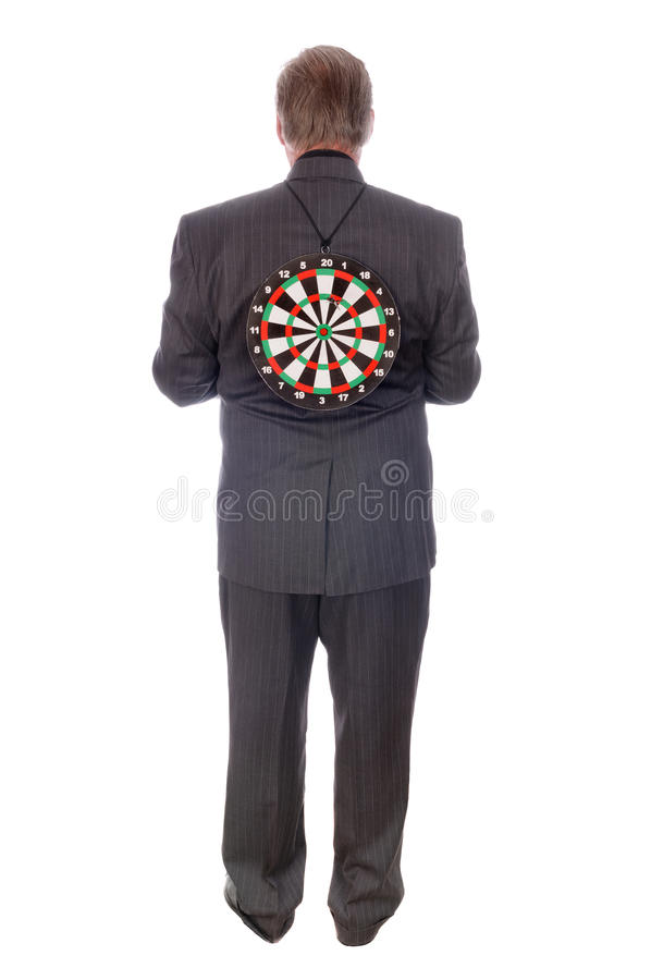 Man with target on back stock photos