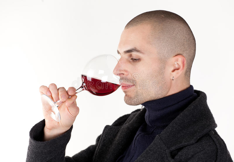 Man taste wine stock photo