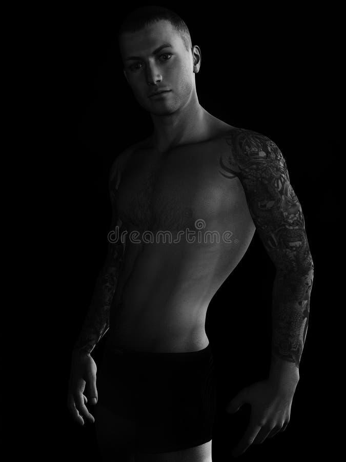 Man with tattoos stock illustration