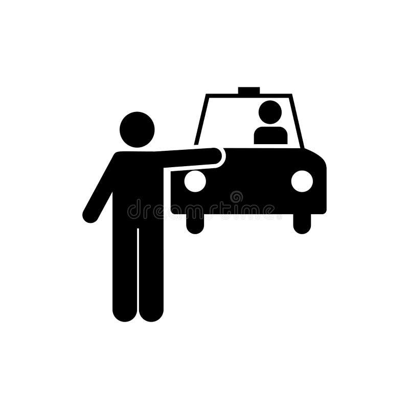 Man taxi, bil, medel, taxisymbol Beståndsdel av den dagliga rutinmässiga symbolen royaltyfri illustrationer