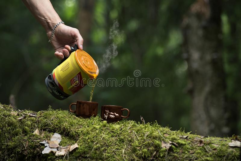 A man at a tea ceremony at the taiga. He is making tea with boiled water. royalty free stock photo