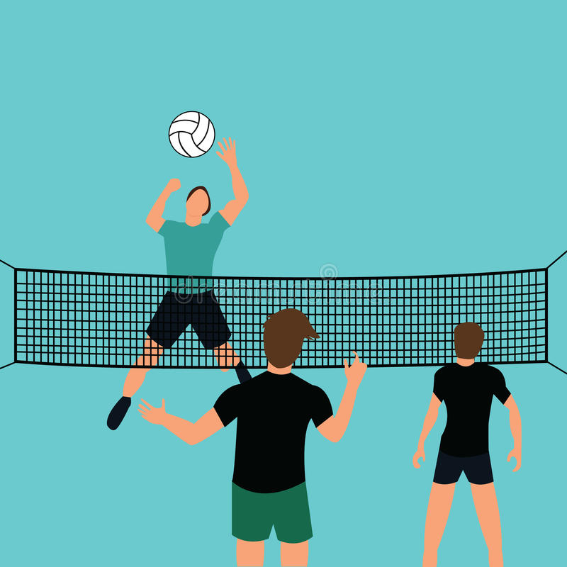Man team play volley ball in court with net jumping smashing defense sport. Vector vector illustration