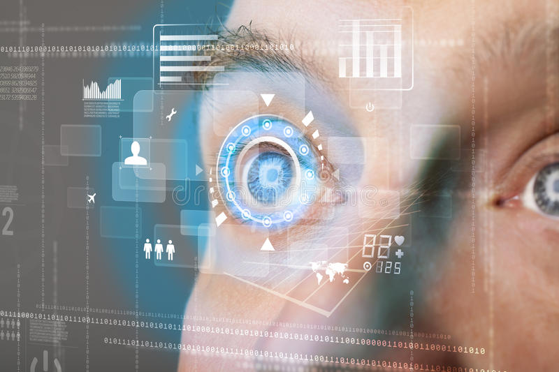 Man with technology screen eye. Futuristic modern cyber man with technology screen eye panel concept stock photo