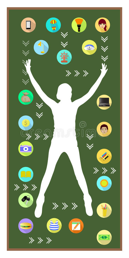 Man and technology. On white background stock illustration