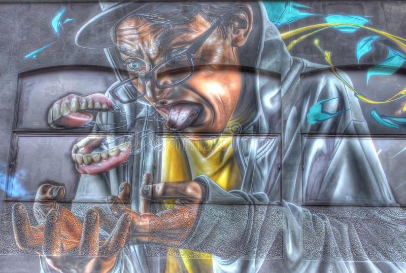 Man With Teeth Removed (Graffiti) Editorial Photography