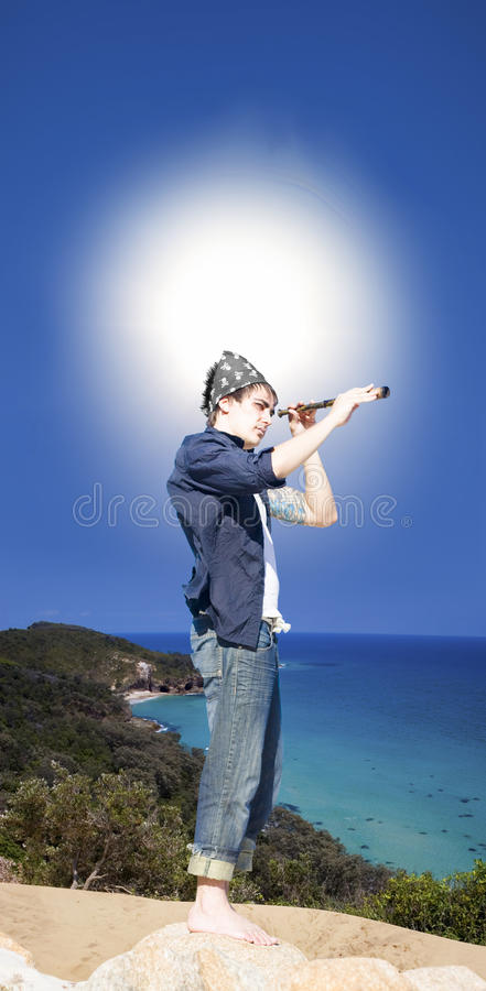 Download Man With Telescope stock image. Image of horizon, instrument - 19289747