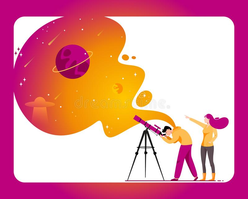 Man with telescope in search of a star. Woman and man with telescope in search of a planet. Vector illustration in flat style vector illustration