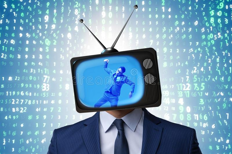 The man with television head in tv addiction concept royalty free stock photography