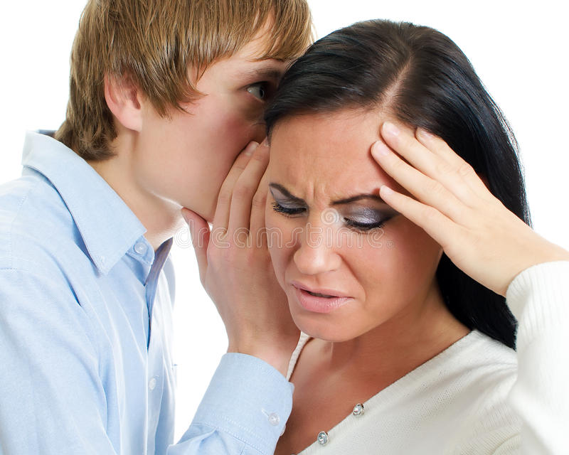 Download Man Telling Terrible Secret To A Woman. Stock Image - Image: 27648369