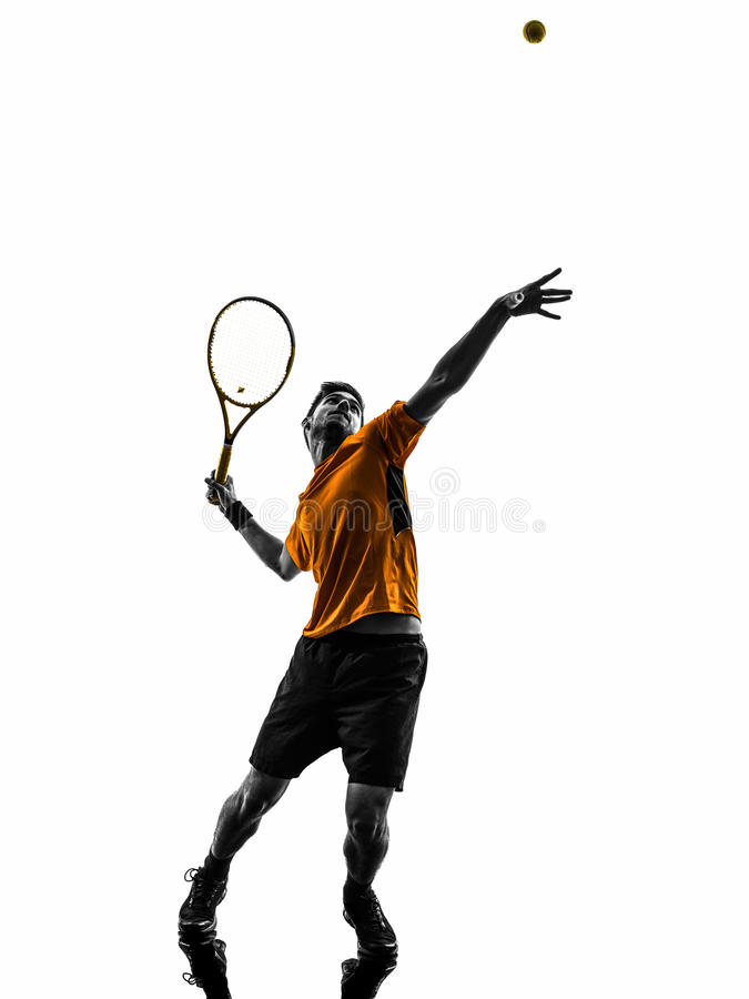 Man tennis player at service serving silhouette royalty free stock image