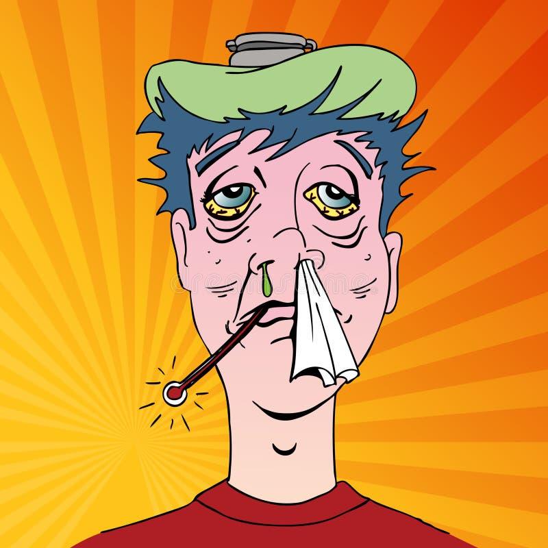 Man with Terrible Flu Symptoms