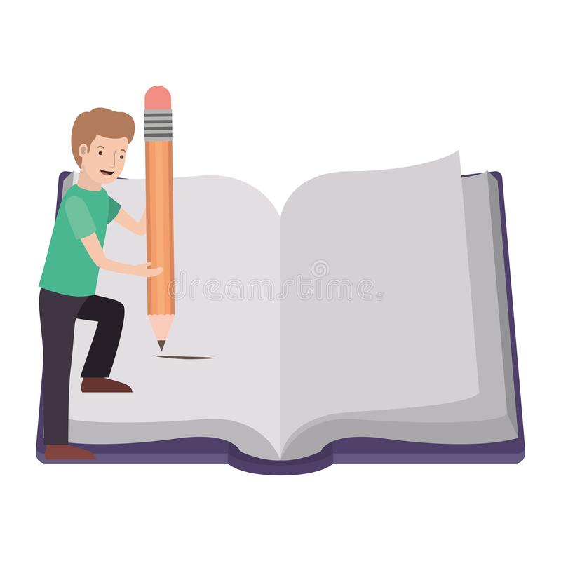 Man with text book and pencil avatar character stock illustration