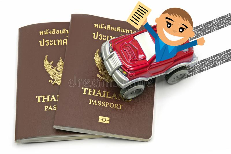 Man with Thailand passport and red 4wd car for travel concept.  stock photos