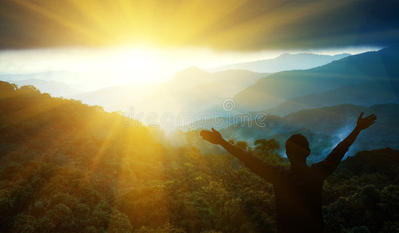 Man Thanksgiving. Raise your arms to the sky feel energetic stock photo