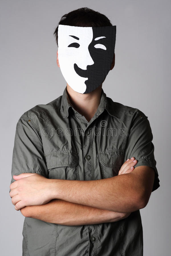 Man In Theater Black And White Smiling Mask Stock Image