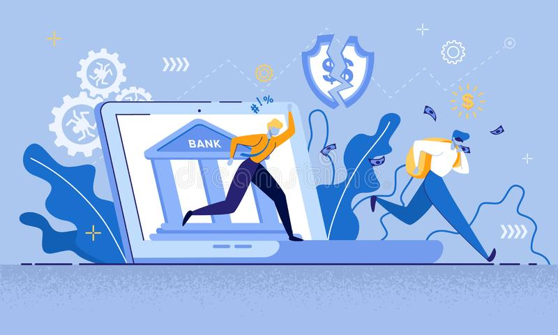Man Thief in Mask Run Steal Money Internet Bank. Man Thief in Mask Run, Steal Money Internet Bank Vector Illustration. Cyber Crime, Online Credit Card Robbery vector illustration