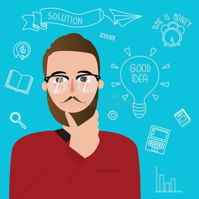 Man thinker wearing glasses inspiration ideas creativity style innovation stock illustration