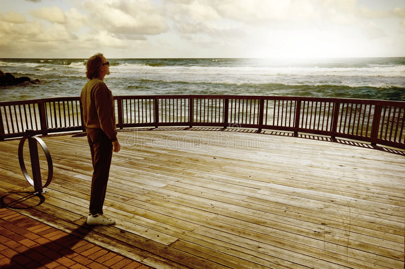 Download Man thinking stock image. Image of sunset, rough, deck - 7611807