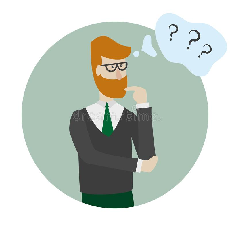 Man is thinking with bubble and question marks. stock illustration