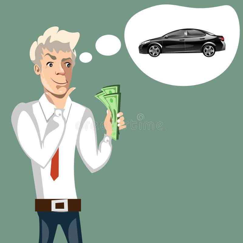 Man thinking of choice. Money for spending. vector illustration
