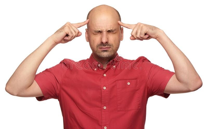 Man thinking hard about a problem royalty free stock images
