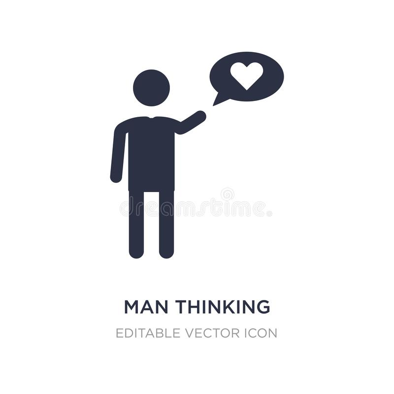 man thinking about love icon on white background. Simple element illustration from People concept stock illustration