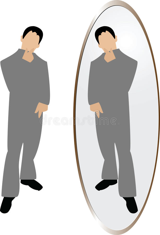 Download Man thinking in mirror stock vector. Image of looking - 9510932