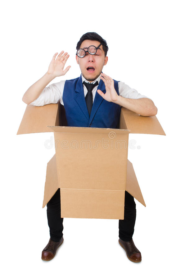 Man in thinking outside box concept royalty free stock photo