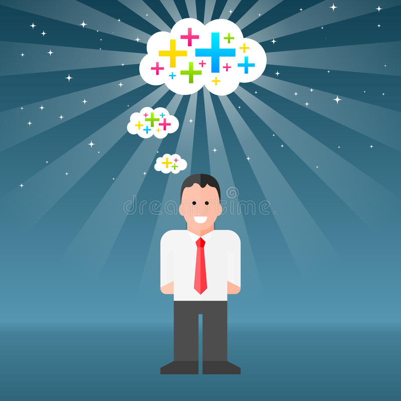 Man-thinking-positive-thoughts. Vector Businessman Thinking Positive Thoughts. EPS10 with assets on separate layers. Radial and linear gradients used, with stock illustration