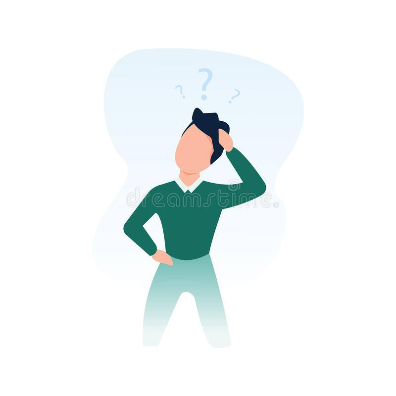 Man is thinking with question marks on the white background. Business concept, decision making, make a choice royalty free illustration