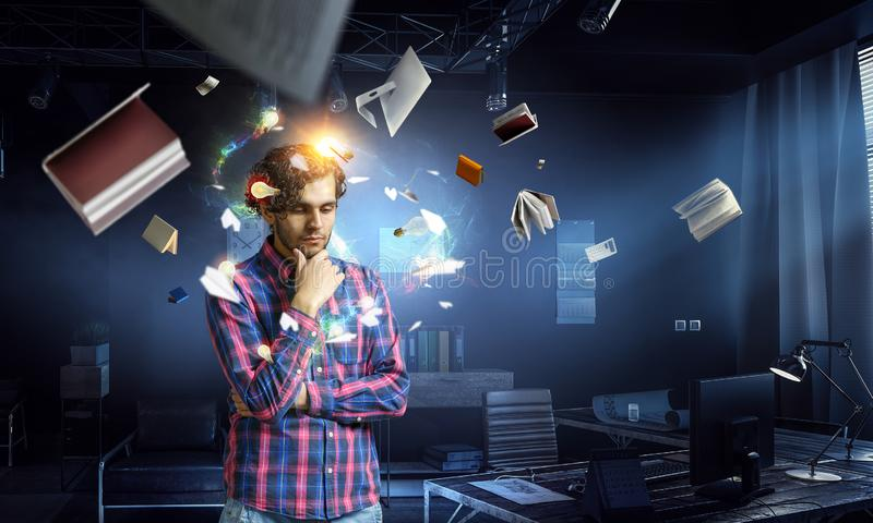 Man thinking and seeking new idea concept royalty free stock photos