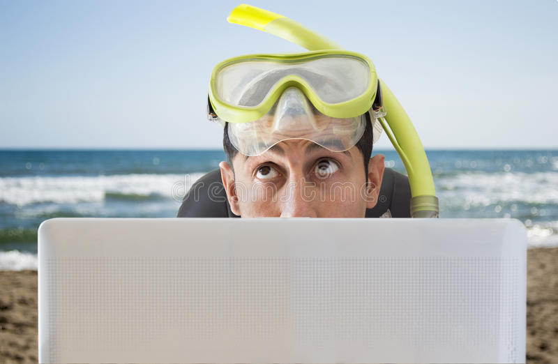 Download Man Thinking He Travels To On His Next Vacation Stock Image - Image: 31262275