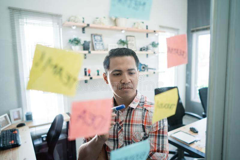 A man thinks of the meaning of the word written on the paper notes stick on the glass wall. In the office room royalty free stock photo