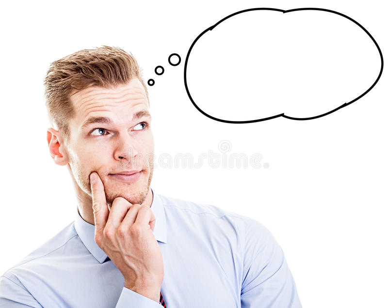 Man with thought bubble stock image