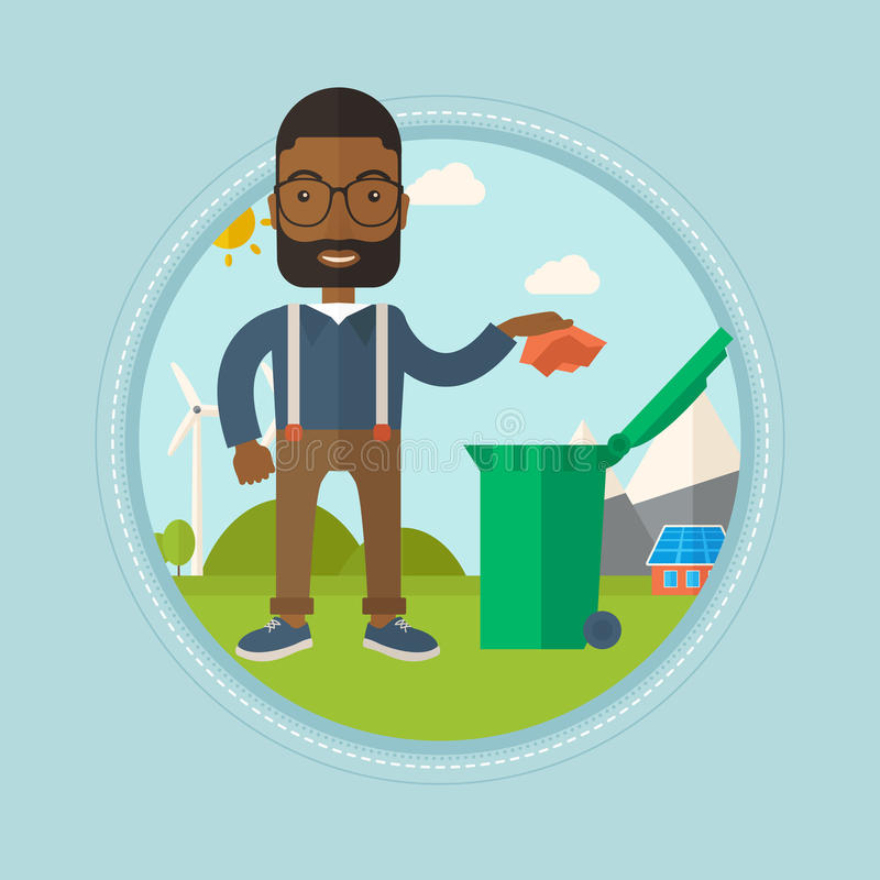 Man throwing away trash vector illustration. An african-american man throwing away a piece of paper in a green trash bin on the background of solar panels and stock illustration