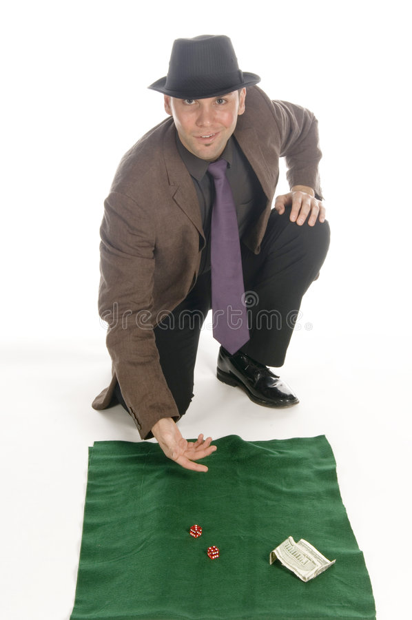Man throwing dices royalty free stock image
